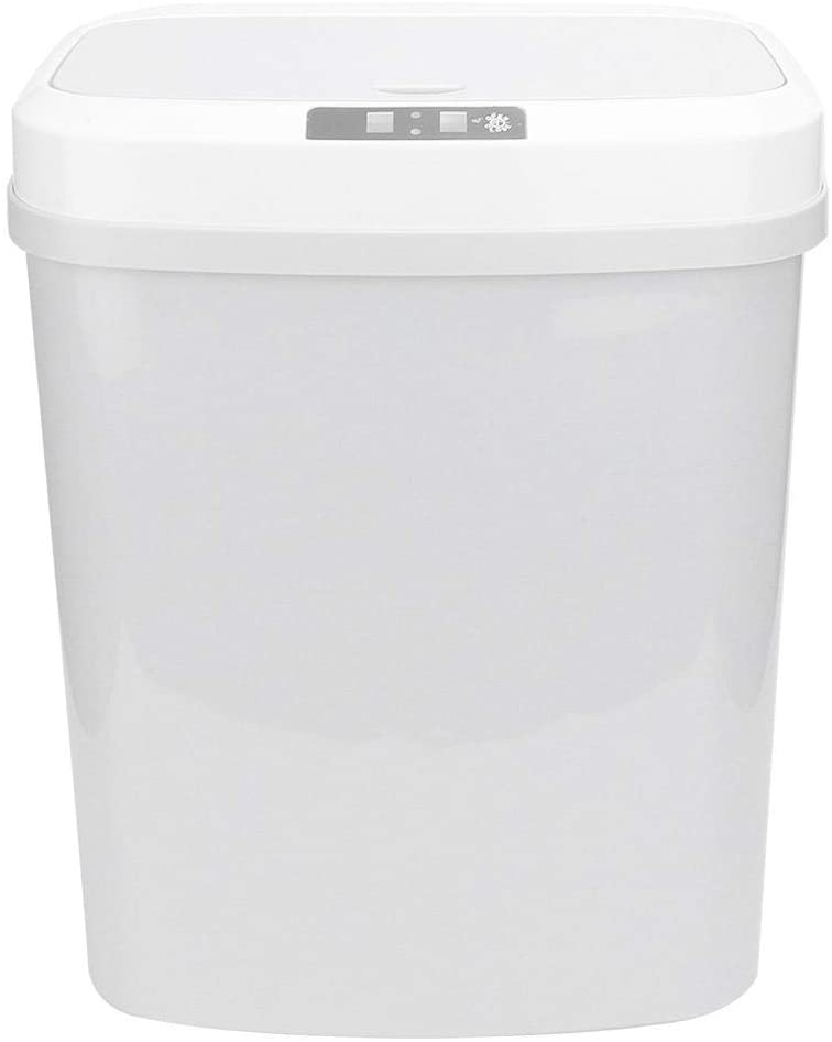 15L Automatic Touchless Intelligent Induction Motion Sensor Dustbin Trash Can, Touch-Free Rectangular Kitchen Trash Can Recycler(White)(Battery Type)