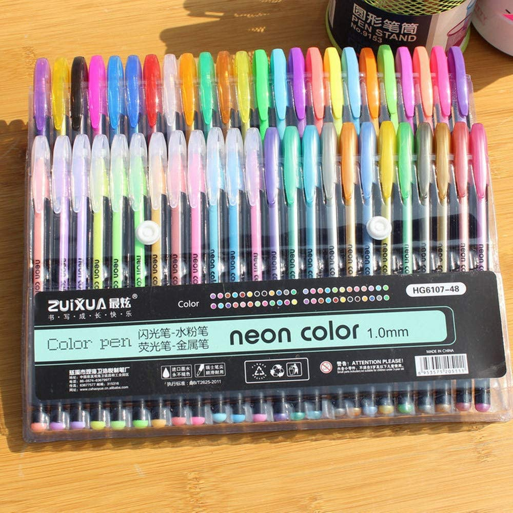 milkcha Home & Garden,48 Colors Gel Pens Set Color Glitter Metallic pens Gift for Kids Drawing 300ml,Office & Stationery