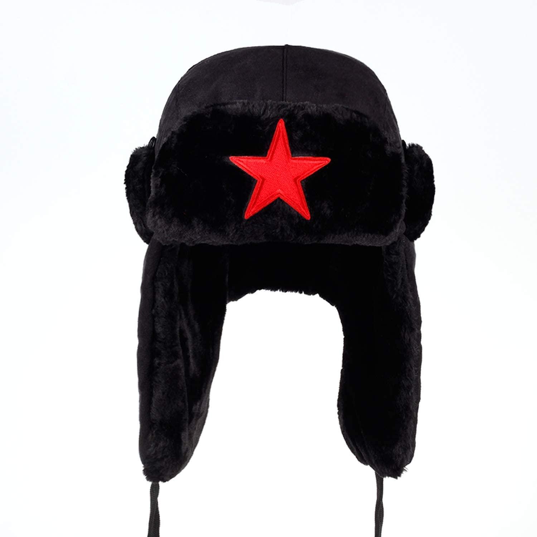 Men Pentagram Lei Feng Winter Hat Aviator Outdoor Ear Flaps Bomber Cap Proof Trapper Russian Hat