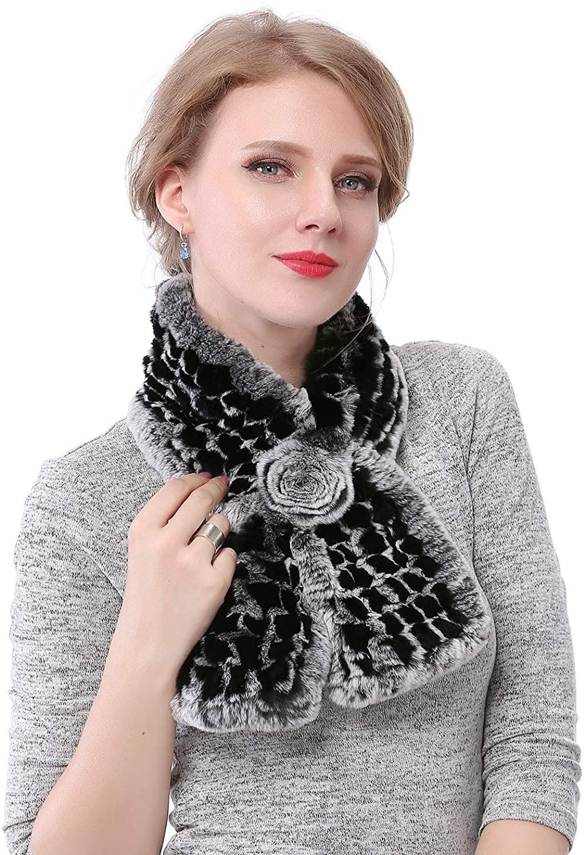 NWSTESLE Winter Women Rex Rabbit Fur Scarf Fluffy Real Fur Scarves