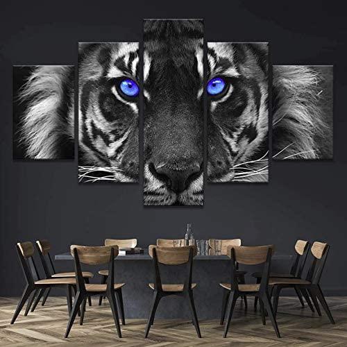 JESC 5pcs Blue Eyes Tiger Canvas Wall Art Painting Modern Home Decor Wall Art Print Painting