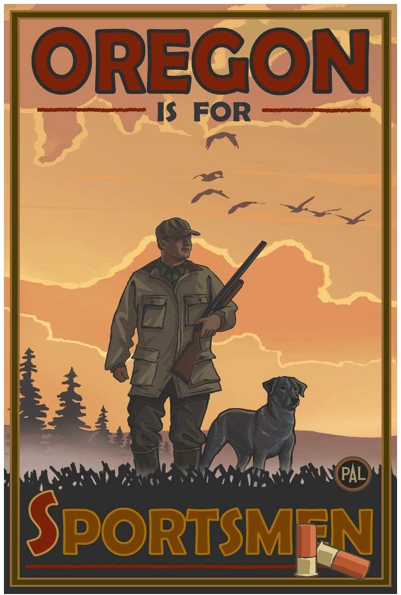 Oregon Duck Hunter Giclee Art Print Poster from Original Travel Artwork by Artist Paul A. Lanquist 24 x 36