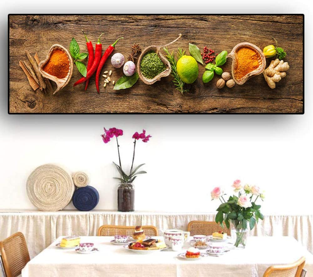 MGSHN Grains Spices Spoon Peppers Canvas Painting Scandinavian Posters and Prints Wall Art Food Picture for Kitchen Room-30x120cm No Frame