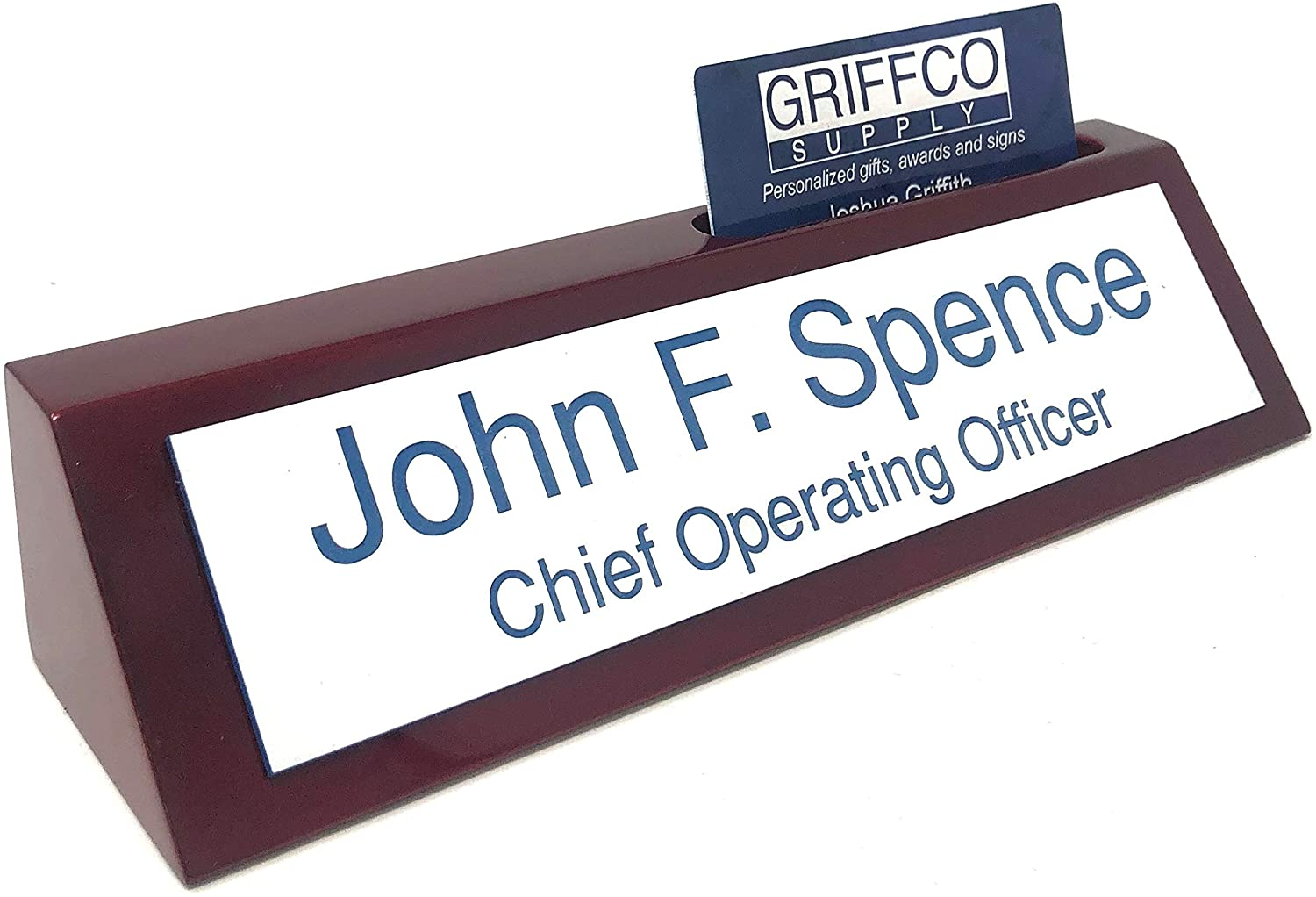 Rosewood Red Piano Finish Personalized Desk Name Plate w/Business Card Holder - 16 Color Options - Custom Name Plate Engraved (White w/Blue Text)