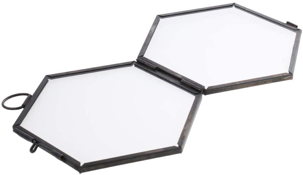 HUANSHENG Wall Hanging Brass Hexagon Glass Artwork Certificate Photo Picture Display Frame (Black)