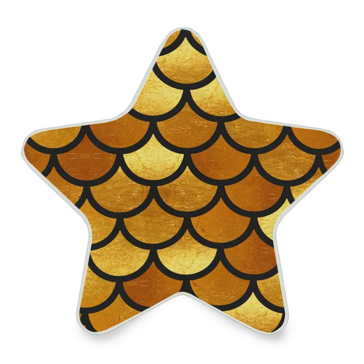 Linomo Star Shaped LED Night Light Lamp Gold Golden Fish Mermaid Scales Auto Senor Nightlight Plug in for Kids Adults Boys Girls Bedroom Decor