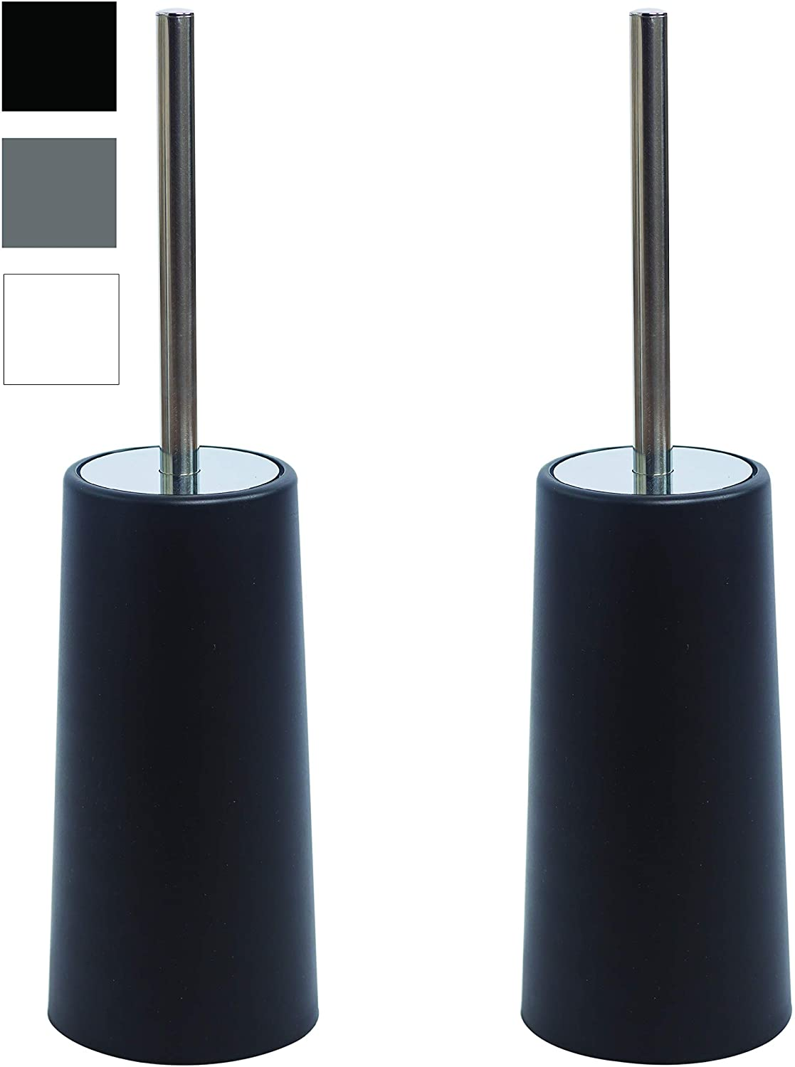 AIREE FAIREE Toilet Brush and Holder Brushes Set Stainless Steel 2 Pack Free Standing Compact Modern Design Long Handle (Black)