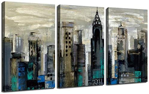 Newyork Cityscape Canvas Wall Art Handed Painted Art 3PK-12x16x1.25 inches for Living Room Decor