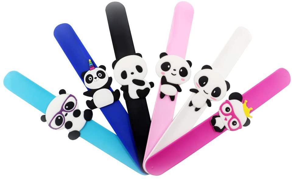 Amosfun 8pcs Children slap bracelet panda decoration kids silicone bracelet for gifts birthday party favor supplies novelty toys and school rewards