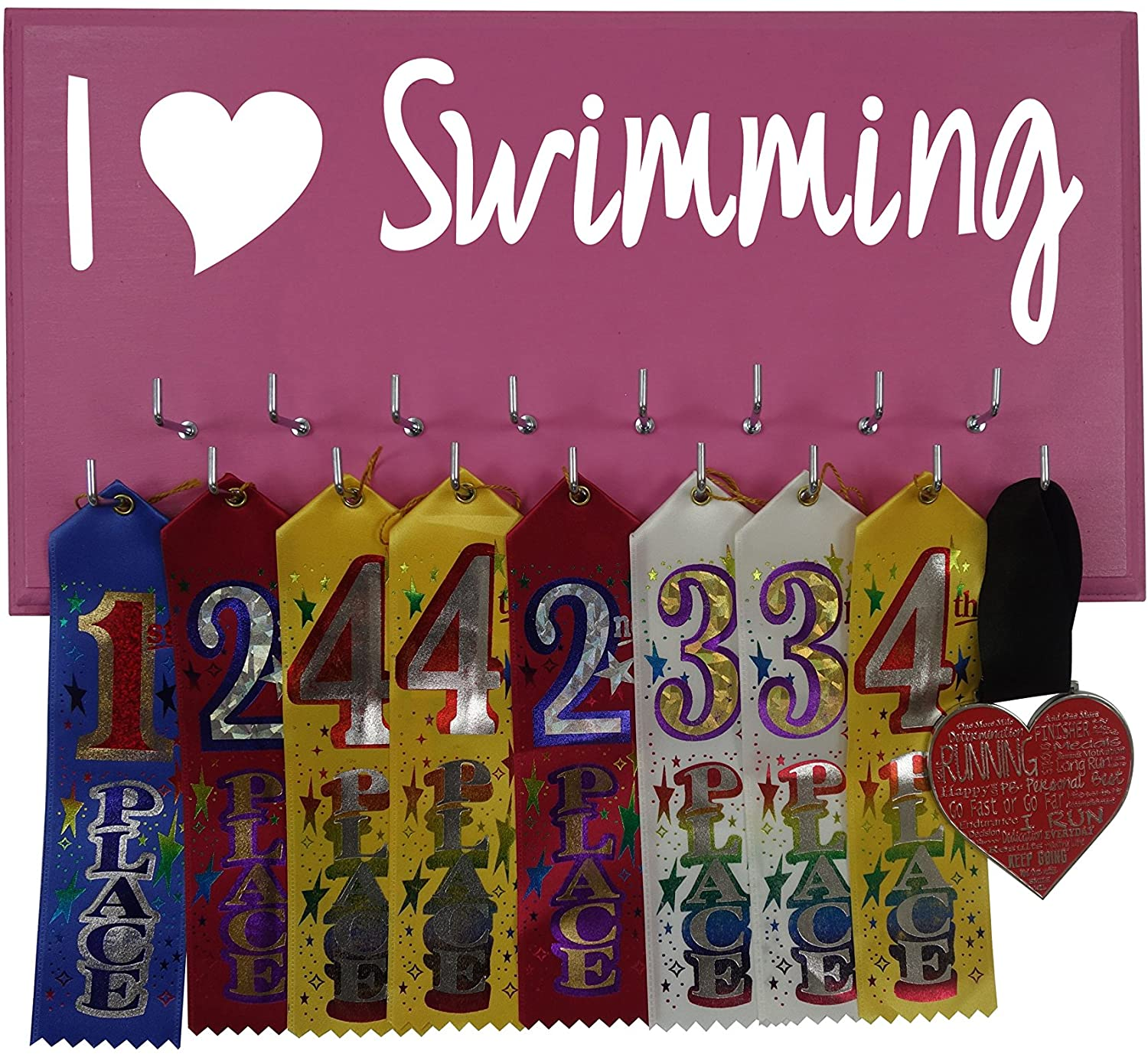 RunningontheWall Swimming Medal Holder, Swimming Gifts for Girls I Love Swimming Swimmer Gifts, Swimming Medals Ribbons Display Kids