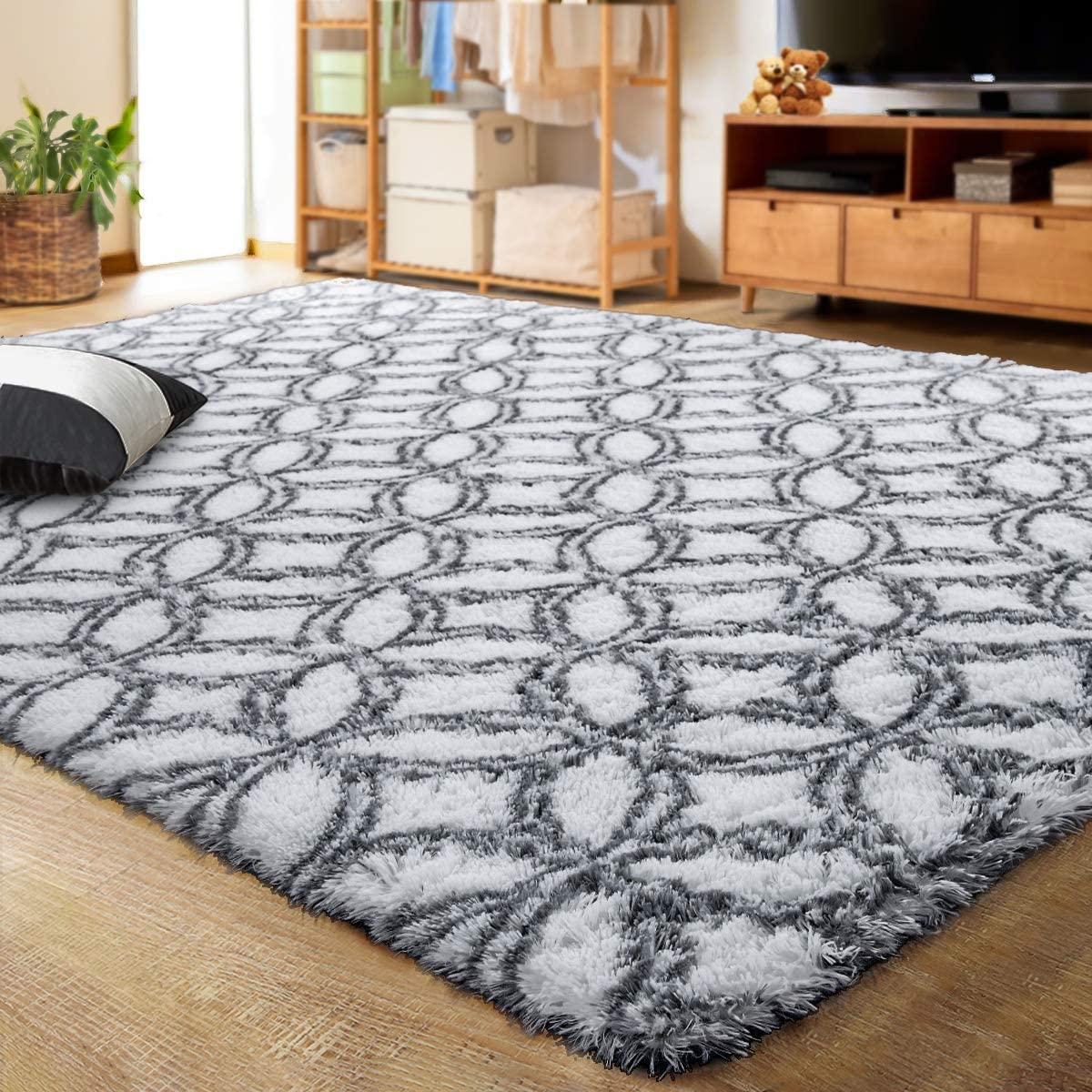 LOCHAS Luxury Velvet Shag Area Rug Mordern Indoor Plush Fluffy Rugs, Extra Soft and Comfy Carpet, Geometric Moroccan Rugs for Bedroom Living Room Girls Kids Nursery (4x6 Feet, Grey/White)