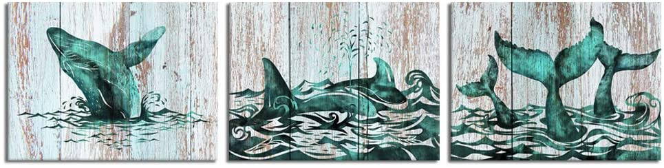 Visual Art Decor Abstract Rustic Teal Whales Silhouette Picture Canvas Prints Gallery Wrapped Premium Ocean Sealife Artwork for Coastal Style Bedroom Bathroom Wall Decoration