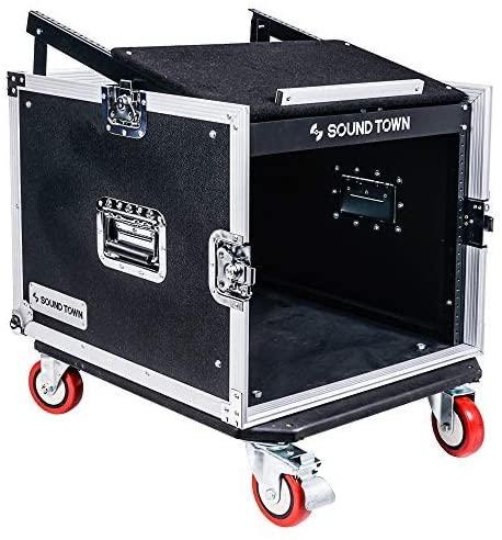 Sound Town 8U PA DJ Pro Audio Rack/Road ATA Case with 13U Slant Mixer Top, 23.5'' Rackable Depth and Casters, 8 Space Size (STMR-8UW)