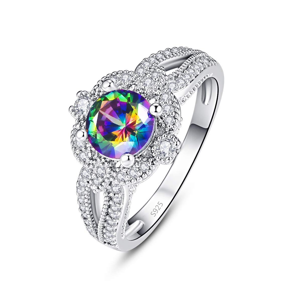 Empsoul 925 Sterling Silver Created Round Cut Mystic Rainbow Topaz 4-Prong Cubic Zirconia Romantic Wedding Ring for Her Size 9