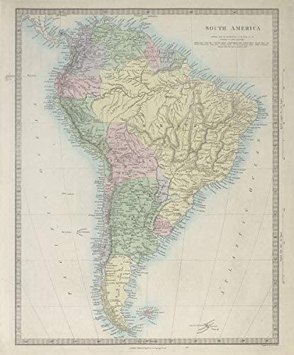 South America. Brazil Peru Bolivia w/Litoral Patagonia La Plata. SDUK - 1857 - Old map - Antique map - Vintage map - Printed maps of South America