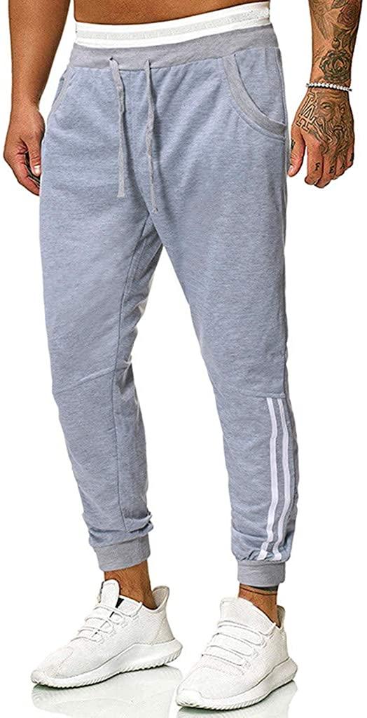 FANSHONN Men's Slim Fit Workout Running Sweatpants with Zipper Pockets - Gym Jogger Pants Drawstring Long Pants
