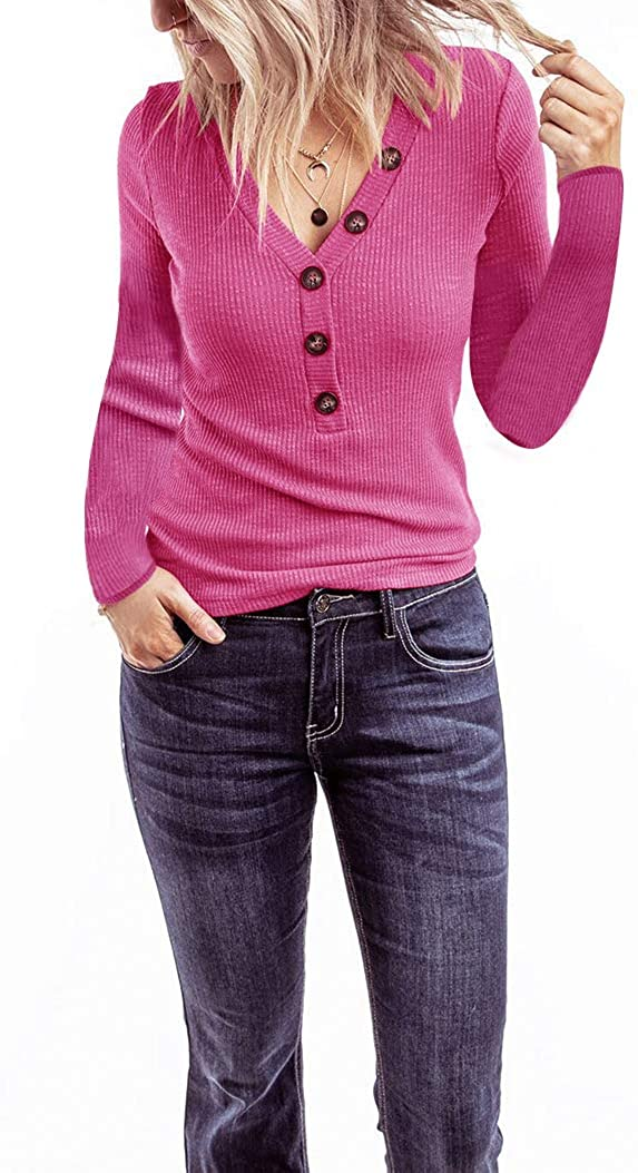 Minthunter Women's Long Sleeve V Neck Shirts Ribbed Casual Tops with Buttons