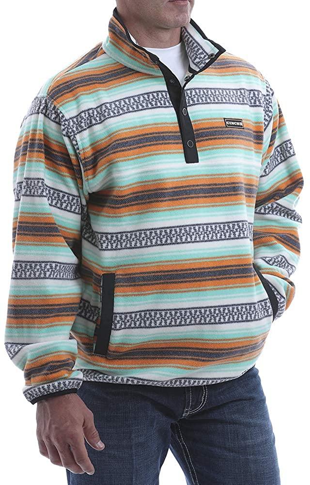 Cinch Apparel Mens Aztec Polar Fleece 1/4 Button Up Pullover