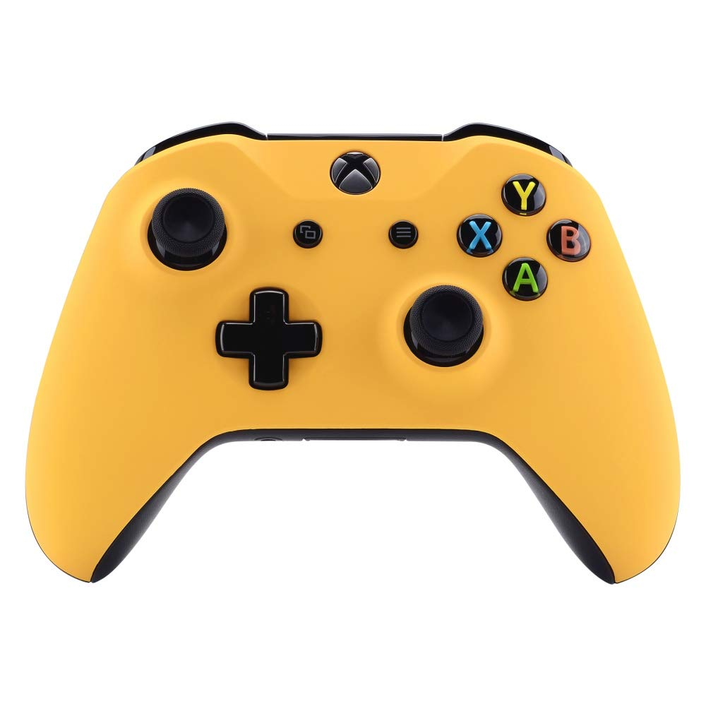 eXtremeRate Caution Yellow Soft Touch Grip Front Housing Shell for Xbox One Wireless Controller 1708, Replacement Parts Top Faceplate Cover for Xbox One S/X Controller - Controller NOT Included