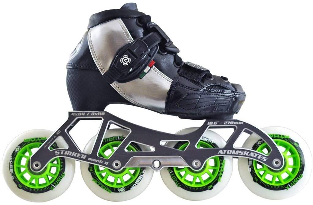 Atom Luigino Kids 4 Wheel Adjustable Challenge Outdoor Inline Skate Package (Atom Matrix 80mm,Firm,Bionic ABEC7)