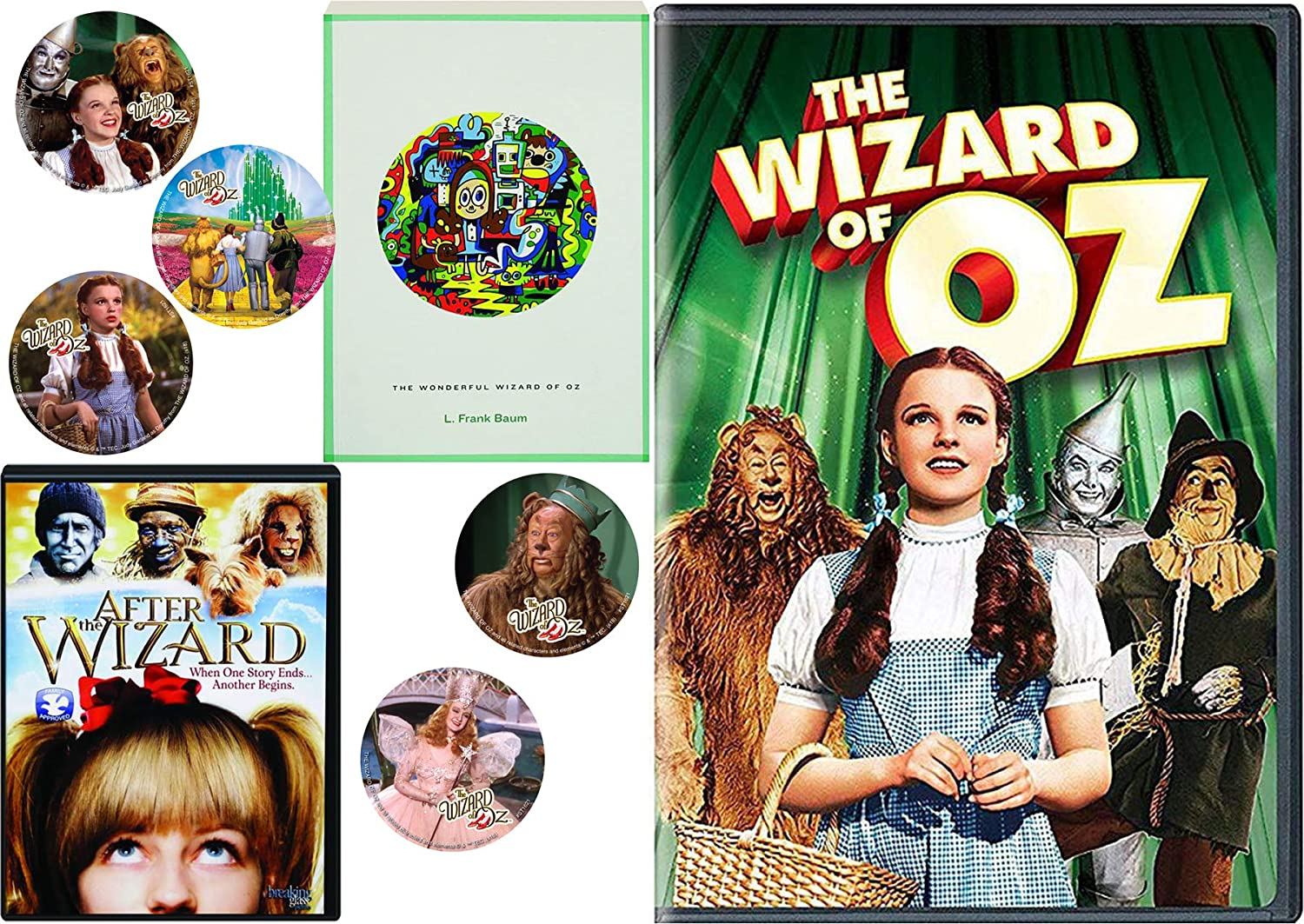 The Classic Story Book L. Frank Baum Wonderful Wizard of Oz & Musical DVD feature + Bonus Dorothy Toto Tin Man Cowardly Lion Stickers kids Read & Watch Pack After the Wizard Double Feature Movie Set
