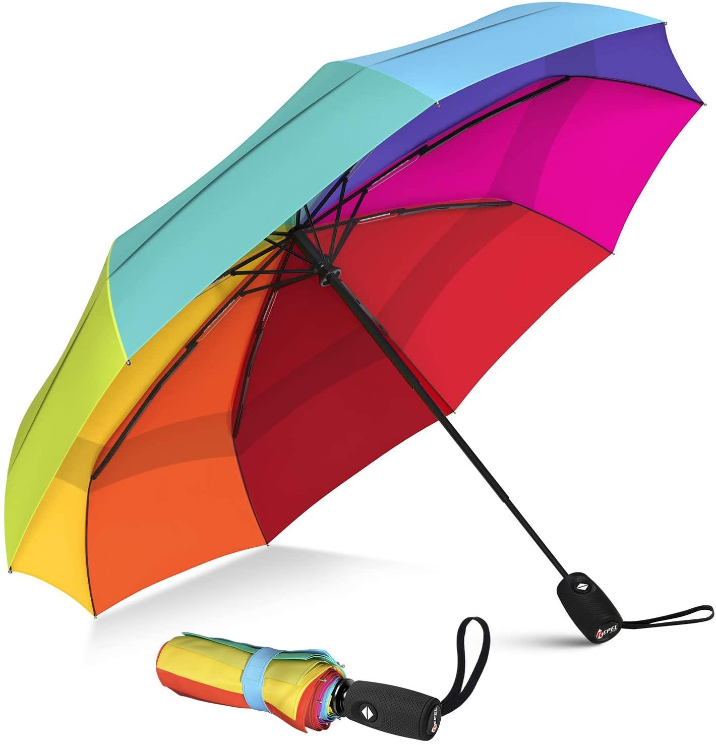 Repel Umbrella Windproof Travel Umbrella with Teflon Coating (Rainbow)