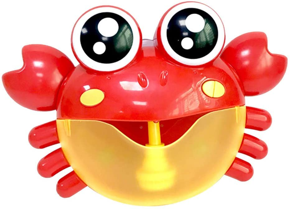 Bubble Machine Crab Bubble Bath Toy, Bathtub Bubble Toy Musical Toy with 30 Nursery Rhyme, Automatic Bubble Maker Bubble Blower for Kids Toddlers Infant Baby Happy Tub Time (Red)