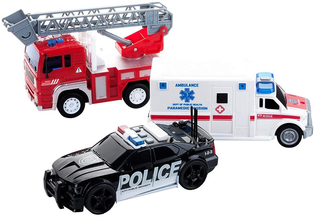 Dazmers Friction Powered City Hero Play Set Including Fire Engine Truck, Ambulance, Police Car - 3-Pack Emergency Vehicles with Light and Sound