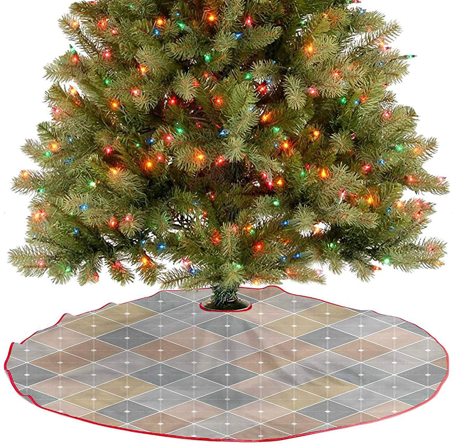 Christmas Tree Skirt Geometric Rhombuses Xmas Tree Holiday Decorations for New Year Party Accessories Diameter - 48 Inch