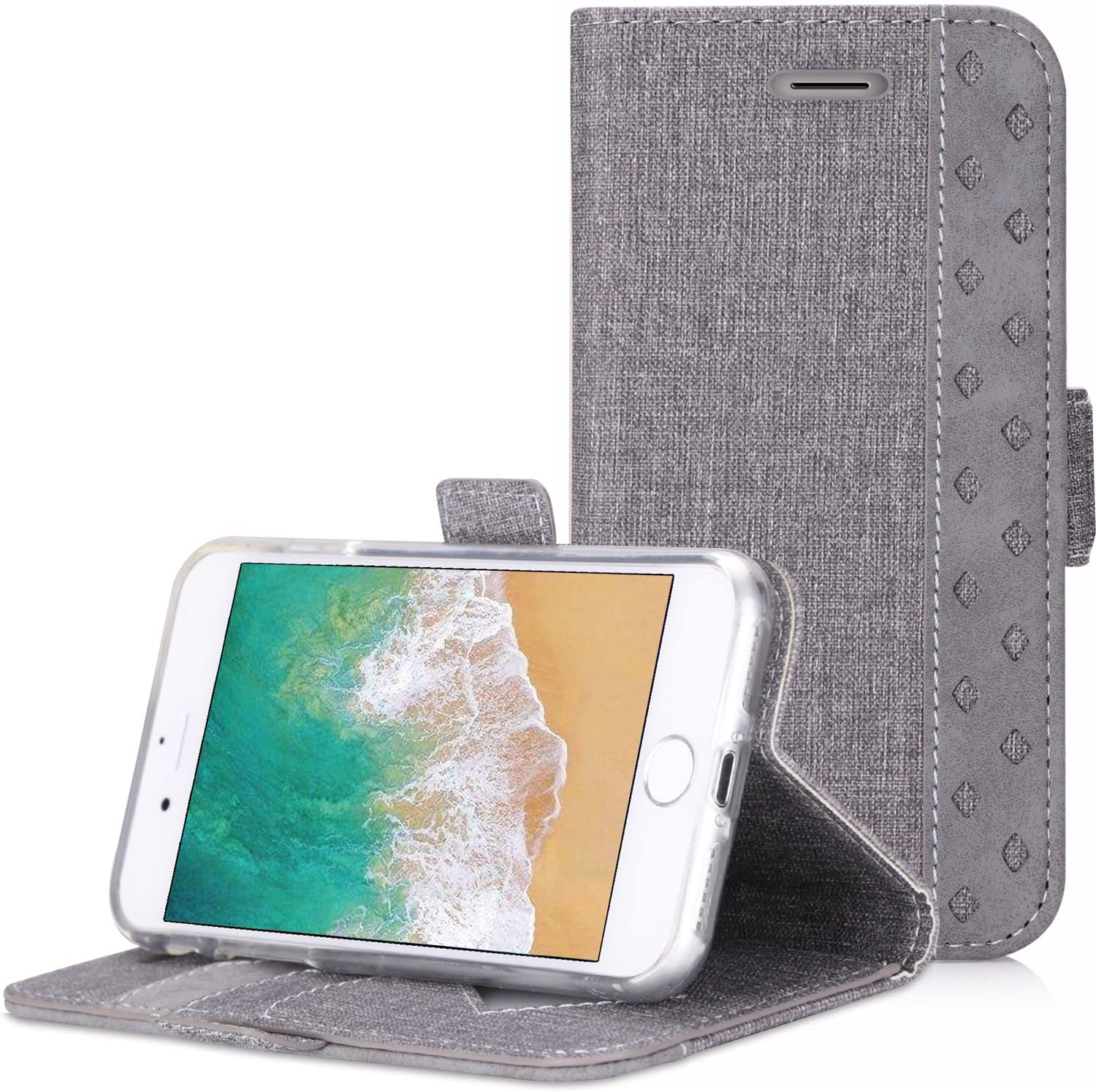 ProCase iPhone SE 2020 / iPhone 8 / iPhone 7 Wallet Case, Folio Folding Wallet Case Flip Cover Protective Case for 4.7-inch iPhone SE 2020 / iPhone 8 / iPhone 7, with Card Slots and Kickstand -Gray