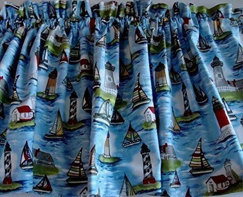 Lighthouses and Sailboats Nautical Theme VALANCE Curtain Window Treatment