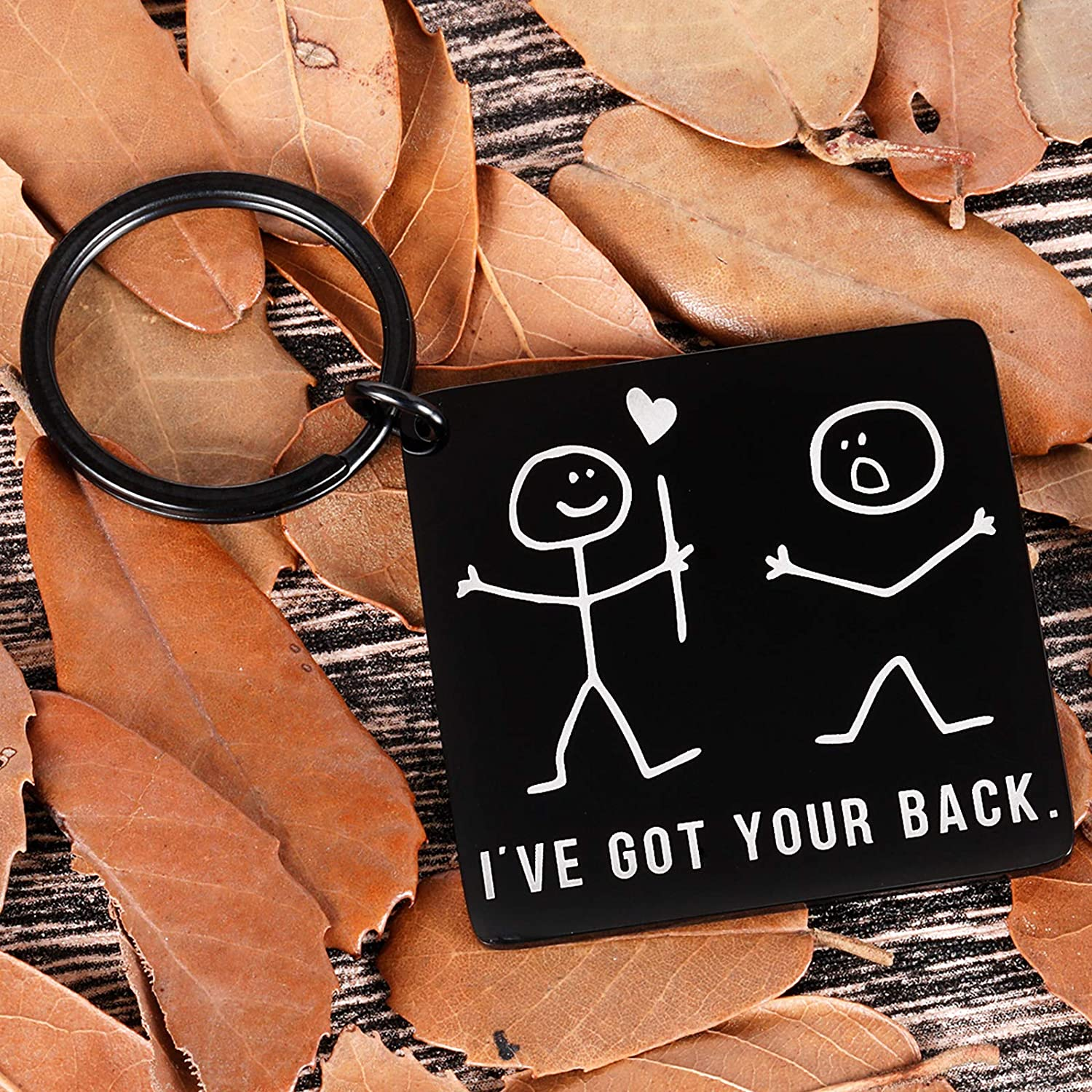 I've Got Your Back Keychain Funny Stick Figures Best Friend Gag Gifts for Her Him BFF Friend Brother Sister Besties Boyfriend Birthday Christmas Valentine Graduation Friendship Gift for Women Men