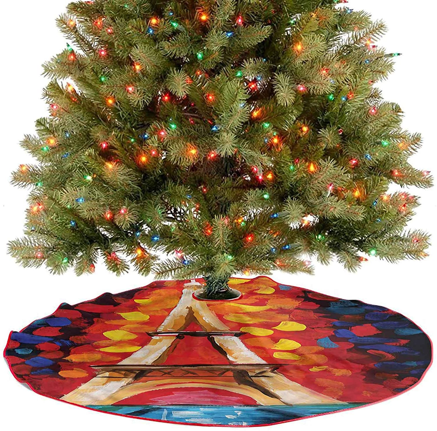 ThinkingPower Christmas Tree Mat Paris France Romantic Indoor Outdoor Decoration A Contemporary Look and Appeal Diameter - 36 Inch