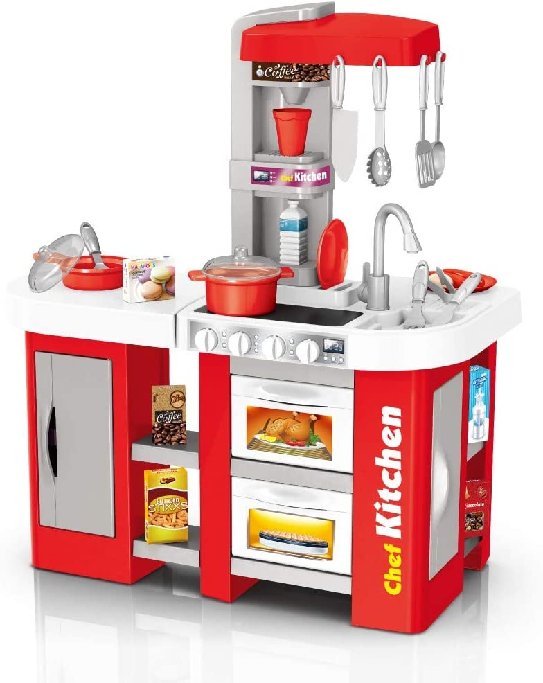 Role Play Kids Kitchen Playset - Large Plastic Play Kitchen with Realistic Lights, Real Cooking and Water Boiling Sounds, Fun with Friends for Kids (Red)