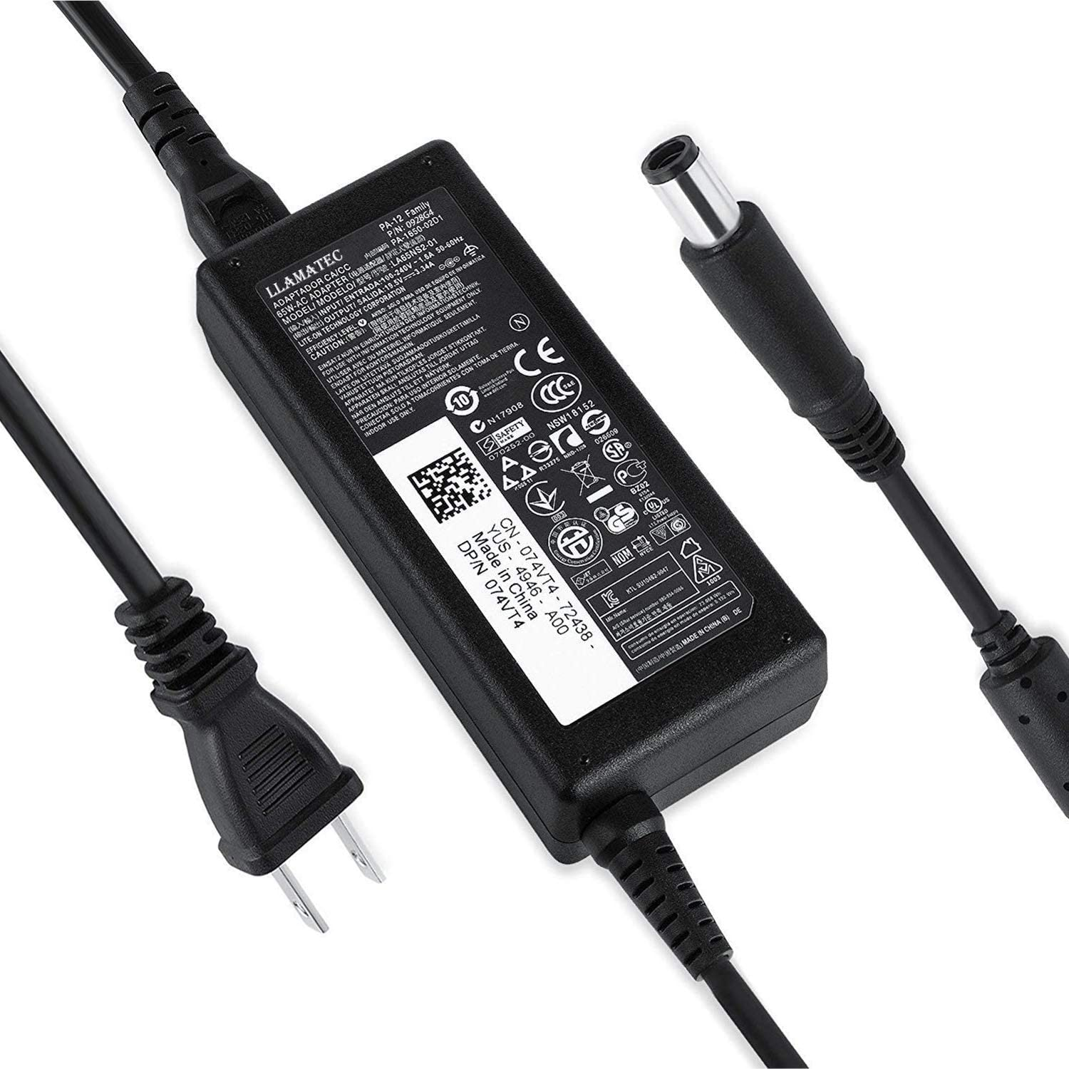 65W AC Charger for PA-12 DA65NM111-00 LA65NS2-01 HA65NS5-00 Dell Inspiron 13 14 15 17 3000 5000 7000 Series,Latitude 11 3189 3180 3580 3588 5288 5488 3480 3488 Laptop Power Supply Spare Adapter