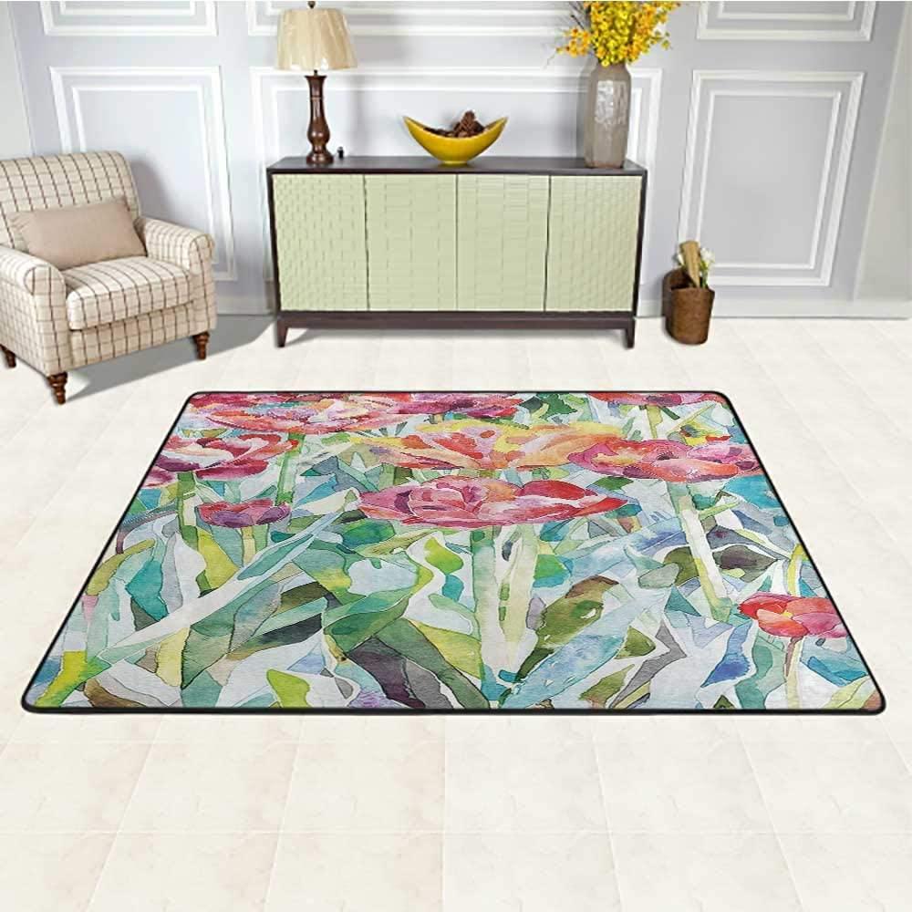 Watercolor Flower Decor Living Room Carpet 6' x 9', Original Painting of Summer Spring Flowers in Faded Colors Floral Seasonal Theme Printed Rug, Multi