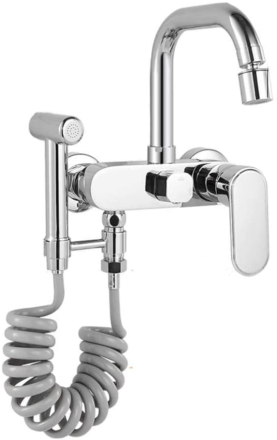 IUYJVR Kitchen Mixer Tap Wall Mounted Kitchen Taps Kitchen Faucet Dual Modes 360-Degree Rotating with Spring Spray Gun Hot and Cold Sink Taps for Kitchen-Chrome