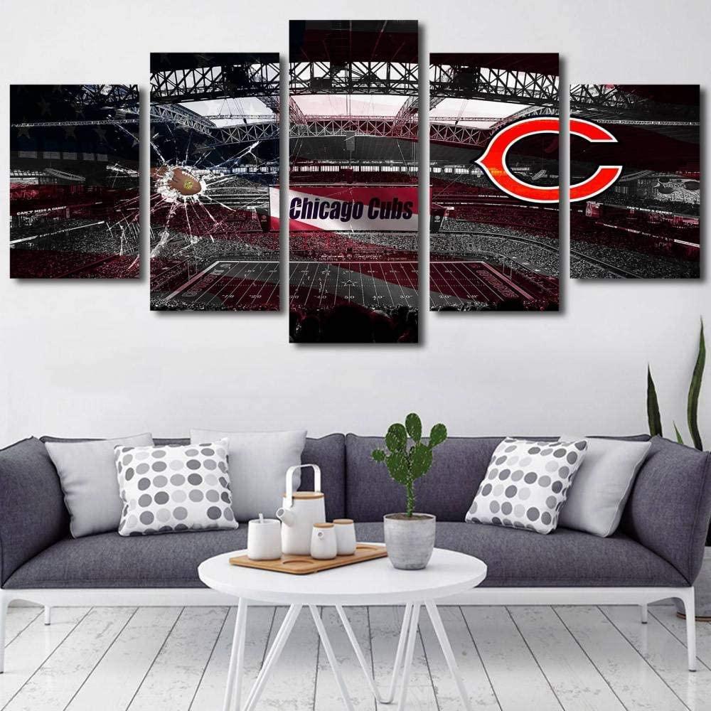 YDME Canvas Prints Art Modular Wall Sticker Decor,Prints On Canvas,5 Piece Painting,Wall Decor Mural Poster Framed American Football Team -200X100cm
