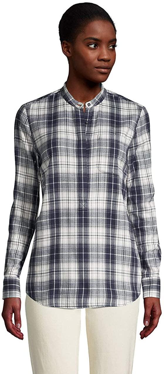 Lands' End Women's Flannel Long Sleeve Tunic Top