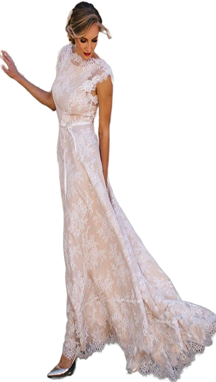 Women's Lace Beach Wedding Dress A Line Bohemian Short Sleeve Bridesmaid Evening Party Maxi Dress Champagne