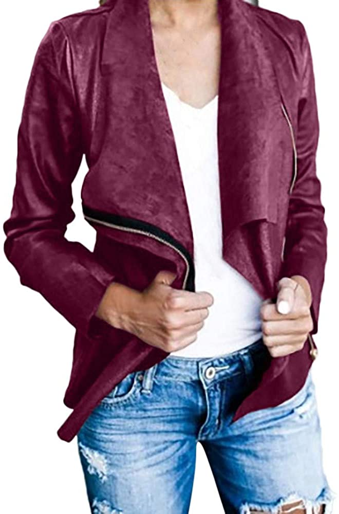 Yuxikong Womens Long Sleeve Retro Solid Zip Up Blazer Casual Work Bomber Jackets Coats