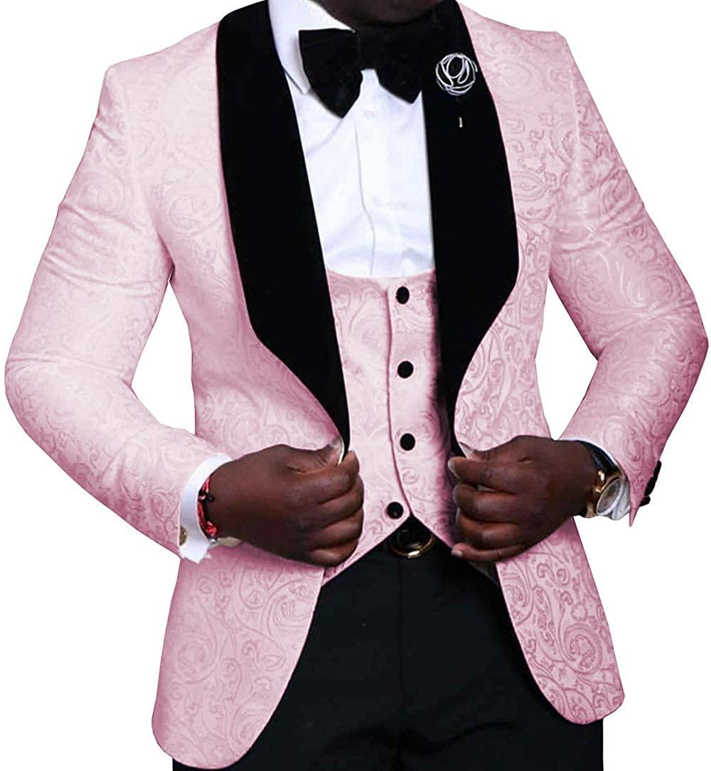 Men's 3 Pieces Mens Suit Jacquard Slim Fit Shawl Lapel Tuxedos for Wedding Groomsmen(Blazer+Vest+Pants)