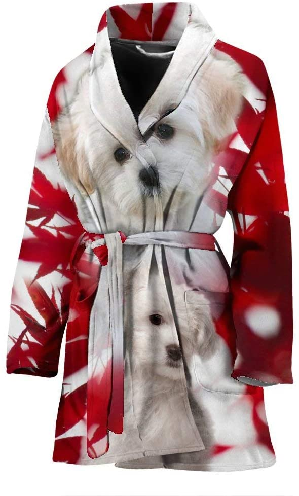 Breedink Maltese On Red Print Women's Bath Robe