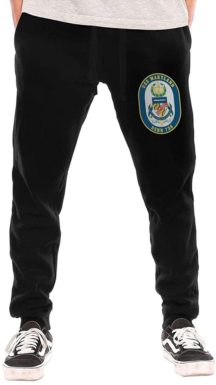 GTUGHDK Navy USS Maryland Ssbn-738 Men's Jogger Workout Athletic Pants Gym Pockets Drawstring Long Pants