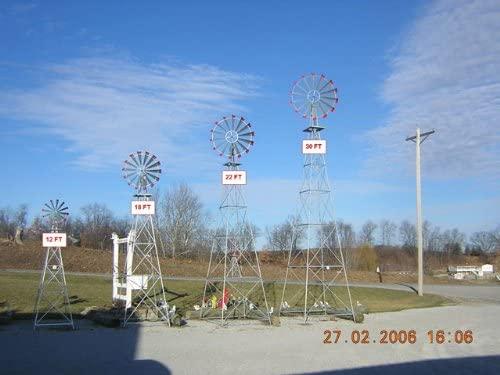12 Ft Premium Aluminum Decorative Garden Windmill- Green Trim