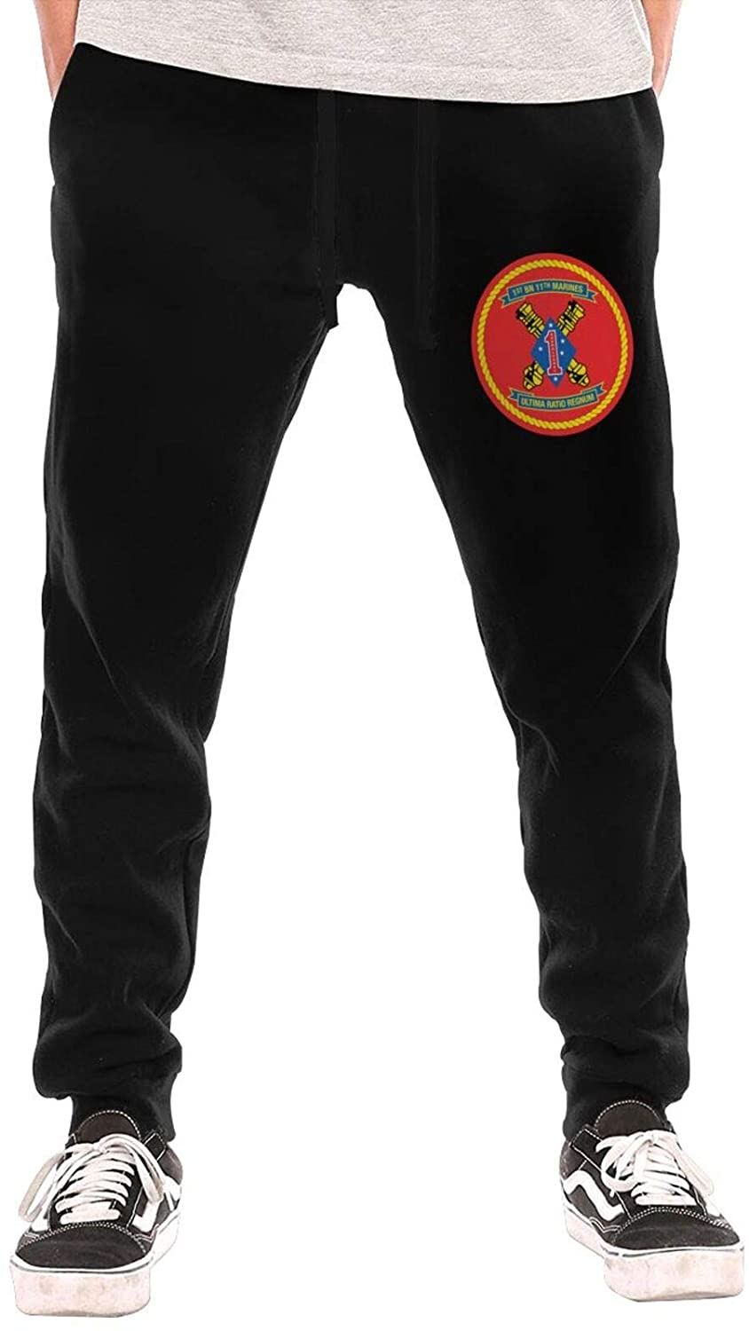 GTUGHDK 1st Battalion 11th Marines Men's Jogger Workout Athletic Pants Gym Pockets Drawstring Long Pants