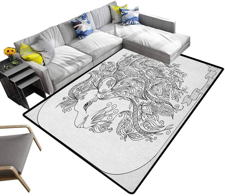 Cute Rug Zodiac, Children's Classroom Seating Rug Visage of Zodiac Sign Leo with Flowers on Hair The King of Forest Horoscope Theme Easy Clean Stain Resistant Black White, 6 x 9 Feet