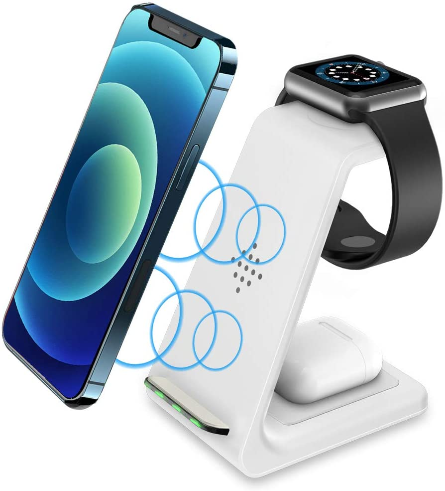 Intoval Wireless Charging Station, True 3 in 1 for Apple iPhone/iWatch/Airpods,iPhone 12 Pro/12 mini/12/11 Pro Max/11/XS/XR/XS/X/8,iWatch 6/SE/5/4/3/2,Airpods Pro/2/1 (White)