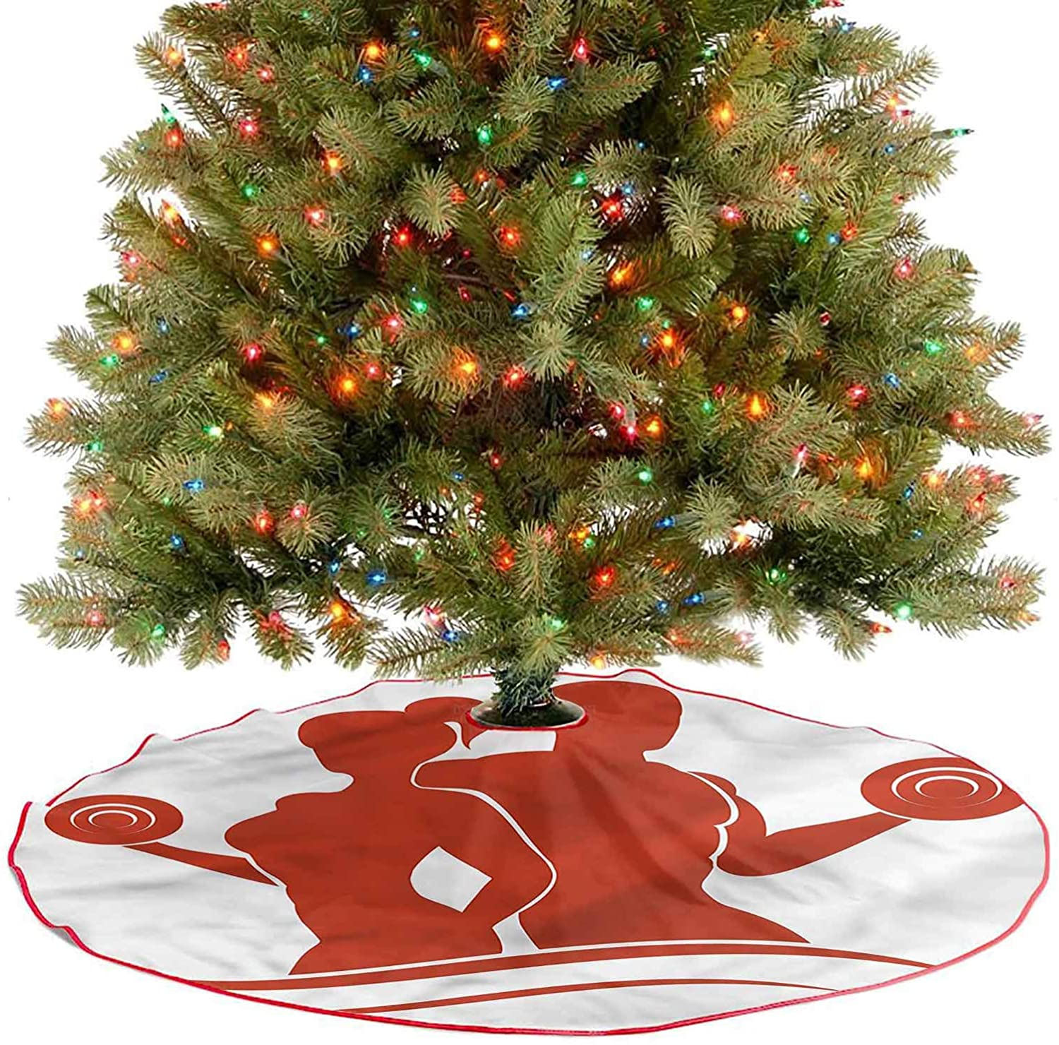ThinkingPower Xmas Tree Mat Muscled Man and Woman Christmas Trees Mat Decorations Indoors Match Perfectly with Your Christmas Tree Diameter - 36 Inch