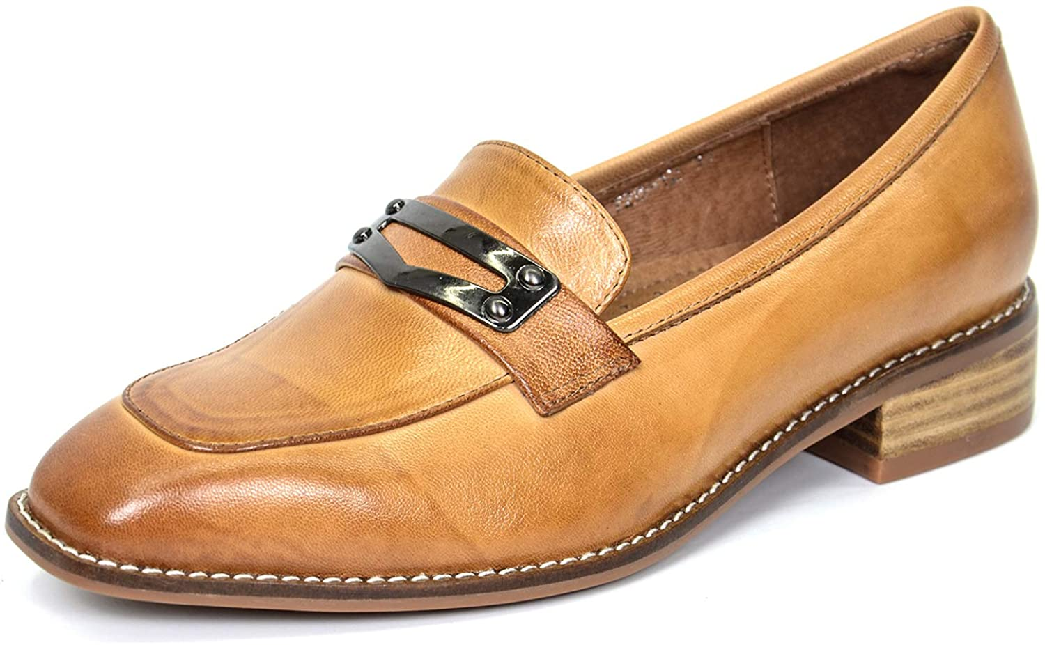 Mona flying Women's Leather Penny Loafer Casual Flat Shoes for Women Ladies Girls